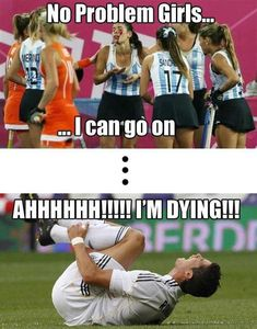 Girls vs. boys :) because girls who play soccer tough it out!