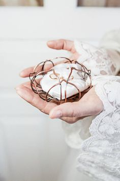 Wedding Ring Box Lotus Flower - Ring Bearer Pillow alternative - Wire wrapped Jewelry holder - Bridal shower gift for bride
