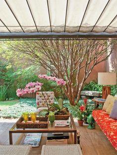 na varanda, luz filtrada: