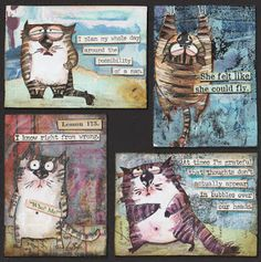 On this special weekend I´ve been in need of a little fun, so I´ve picked my new Snarky Cats stamps and made a few ATCs with them. Tim Holtz Dies, Tim Holtz Stamps, Sizzix Dies, Crazy Bird, Crazy Cats, Crazy Animals, Cat Cards, Kids Cards, Men's Cards