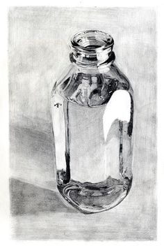 Drawing Techniques Glass Bottle by tydogg - Pencil Art Drawings, Realistic Drawings, Art Drawings Sketches, Watercolour Pencil Art, Hipster Drawings, Graphite Drawings, Drawing Faces, Art Illustrations, Still Life Drawing