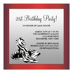21st birthday party invitations hot pink zebra 21st birthday womans red zebra 21st birthday party custom invite stopboris Images