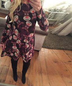 ac177fe8ae6 Large Size Print Dress For Women 2018 Autumn New Christmas Cartoon Casual  Dresses Long Sleeve Mini Dress Plus Size S-5XL On Sale