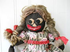 Vintage cloth doll rag doll  sawdust doll Black by hopeandjoyhome, I love the face