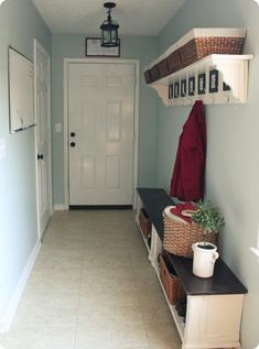 Create a mudroom near your front door using simple shelving and a bench.