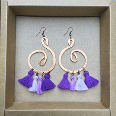 ramini, orecchini fatti a mano in rame battuto. lilla www.raminishop.com