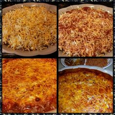 Enchilada Casserole,  Spanish Rice and Cheesy Refried Beans - - I made it!!  Delicious.  Enchilada casserole has ground beef seasoned with salt and pepper and then enchilada sauce is added to the ground beef (keeps it from being dry),  mix of shredded cheddar /mozzarella and cottage cheese,  corn tortillas and enchilada sauce.  Layer it all together and bake for approximately 30-40minutes @350°