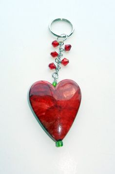 Red Heart Key Chain with Crystals by CloudNineDesignz on Etsy, $12.00