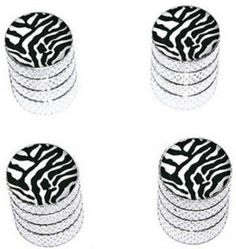 """Amazon.com : (4 Count) Cool and Custom """"Diamond Etching Zebra Print Top with Easy Grip Texture"""" Tire Wheel Rim Air Valve Stem Dust Cap Seal Made of Genuine Anodized Aluminum Metal {Sweet Toyota Silver and Black Colors - Hard Metal Internal Threads for Easy Application - Rust Proof - Fits For Most Cars, Trucks, SUV, RV, ATV, UTV, Motorcycle, Bicycles} : Sports & Outdoors"""