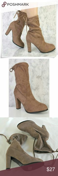 "Booties in brown taupe. Mid-calf round toe booties with chunky heel and rear tie clouser.  Details: heel 3-3/4"", circumference 10"", shaft 5-1/2"", fits TTS, material - faux suede, fabric.  Please use only ✔OFFER  button for all price negotiations. I'll do a price drop⤵ for you for discounted shipping, if we agree about the price. Forever Shoes Ankle Boots & Booties"