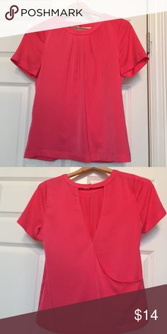 J Crew Factory Pink Criss Cross Back XS Top Fun Top!  Worn once.  Large opening at back with snap closure.  100% Polyester J. Crew Factory Tops Blouses