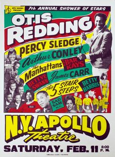 Concert poster featuring Otis Redding, Percy Sledge, Arthur Conley, The Manhattans, and The Bar Kays amongst others.