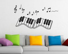 Wall Art Decor Removable Vinyl Decal Sticker Musical Music Piano Keyboard #16