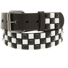 Black And White Checkered Pyramid Stud Belt | Hot Topic ($20) ❤ liked on Polyvore featuring accessories, belts, jewelry, hot topic, pyramid stud belt, black and white belt and checkered belt