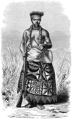 Samoan warrior in tapa-clothing. (From the Godeffroy Album).