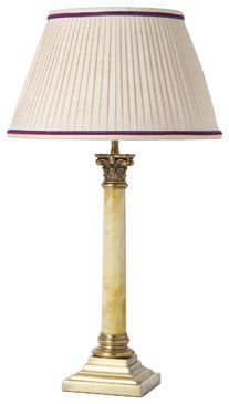 T4-004 Corinthian column, with marble centre, distressed brass