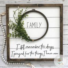 "Framed Shiplap Family Wreath Sign- 19x19"""