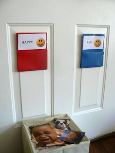 Practice emotions by sorting pictures. Great for toddlers.