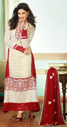 USD 102.87 White Embroidered Georgette Anarkali Suit 27615