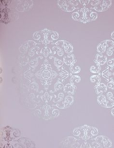 Zecca Wallpaper from The Grand Tour Collection. Soft lilac wallpaper with large medallion in silver metallic, has co-ordinating fabric My Living Room, Living Room Decor, Bedroom Decor, Bedroom Ideas, My New Room, My Room, Lilac Room, Lavender Room, Silver Bathroom