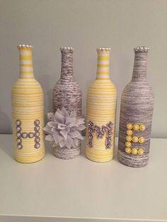 ✔ 69 diy wine bottle crafts for home decor on a budget 55 ⋆ newport-internat. ✔ 69 diy wine bottle crafts for home decor on a budget 55 ⋆ newport-in Wine Bottle Chandelier, Wine Bottle Vases, Wine Bottle Centerpieces, Glass Bottle Crafts, Diy Bottle, Bottle Decorations, Bottles And Jars, Yarn Wrapped Bottles, Yarn Bottles