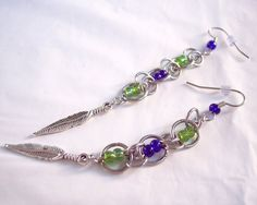 Seattle Seahawks Feather Chain Mail by TheButterfliesGarden #seahawks #earrings #jewelry  #lime #green #navy #blue #feather #charm #chainmail #fashion #gohawks #hawks #silver