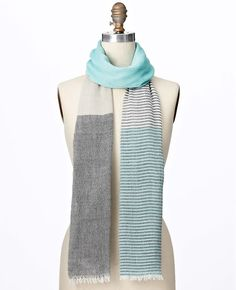 Ann Taylor - AT Scarves Accessories - Colorblocked Yarndye Scarf
