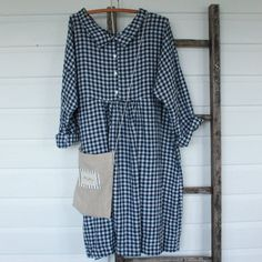Navy and White Linen Checked Dresss by MegbyDesign on Etsy