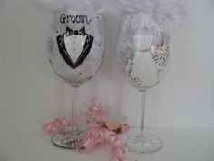Hand Painted Personalized Wedding Wine  Glasses by ImGlassyEyed, $40.00