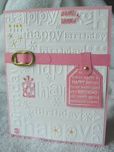 From splitcoaststamper....would be good to do in other tones for a masculine card.  (I have this embossing pad)