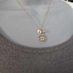 Personalized Compass Rose Necklace & Gold Filled, Monogram, Cluster Charms - Follow Your Dreams- Fine Handmade Jewelry. $34.00, via Etsy.