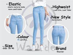 168 Light Blue Korean Style Series Denim Pants Elastic Women Highwaist Jeans Buy Jeans Online Malaysia Buy Jeans Online, Korean Fashion, Light Blue, Skinny Jeans, Slim, How To Make, Pants, Stuff To Buy, Style