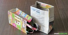 Crafting gift bags from waste paper - useless brochures with a new purpose Newspapers and advertising brochures in waste paper? Here are detailed instruc How To Make A Gift Bag, How To Make Paper, Craft Gifts, Diy Gifts, Diy Paper, Paper Art, Homemade Gift Bags, Waste Paper, Newspaper Crafts