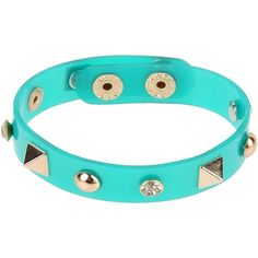 Dettagli Bracelet ($14) ❤ liked on Polyvore featuring jewelry, bracelets, green, green jewelry and studded jewelry