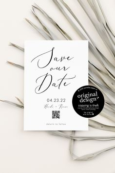 Printable save the date template with scannable QR code - perfect for a modern, minimalist wedding!