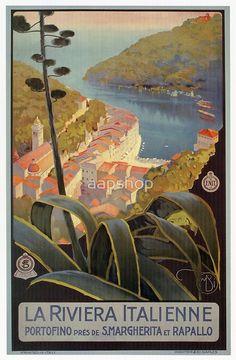 Vintage Italian Riviera Travel Portofino