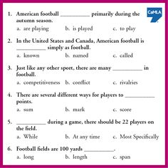 Learn more about U.S.-style football by taking this quiz. See the answers here: https://www.pinterest.com/pin/450500768954881551/