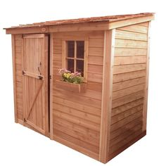 Convey a majestic look to your outdoor area with this durable Outdoor Living Today Spacesaver Western Red Cedar Single Door Shed. Wood Storage Sheds, Garden Storage Shed, Outdoor Storage Sheds, Storage Shed Plans, Wooden Sheds, Outdoor Sheds, Firewood Storage, 10x12 Shed Plans, Wood Shed Plans