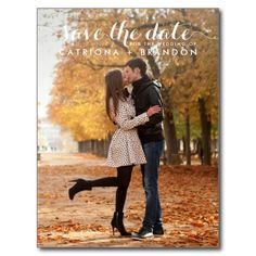 WHITE WHIMSICAL SCRIPT SAVE THE DATE POSTCARD
