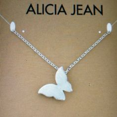 """BUTTERFLY IN FLIGHT STERLING SILVER STERLING SILVER CHAIN AND CHARM-CHAIN IS 16"""" LONG-SMALL BUTTERFLY-SEE ALL PICTURES Alicia Jean Jewelry Necklaces"""