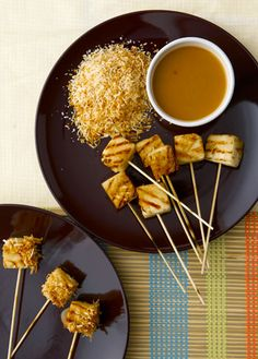 curtis stone grilled pineapple skewers with coconut and caramel sauce