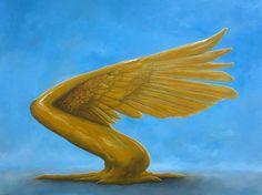 Gold Wing Oil on canvas 90x120cm. Avihai cohen Art אביחי כהן