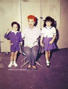 "Lucy with Lucie and Desi, Jr. on the set of ""I Love Lucy."""