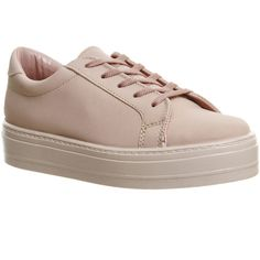 Office Diva Flatform Lace Up (€37) ❤ liked on Polyvore featuring shoes, sneakers, flats, pastel pink, women, lace up sneakers, flatform shoes, lace up flats shoes, chunky shoes and flat shoes