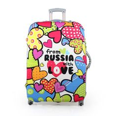 One Bear Landmarks Of The World Travelling Stickers Travel Luggage Cover I Love To Travel Elastic Suitcase Dust-proof Case Protector Fit 29-32 Inch Luggage Baggage