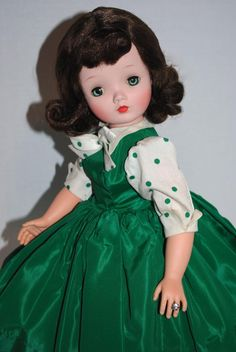 A Vintage Madame Alexander Cissy in her RARE MINTY #2110, 1957 green taffeta, tagged, polka dot dress.