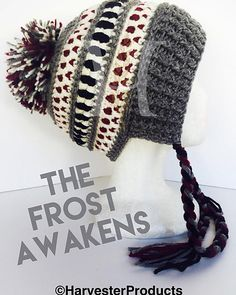 The Frost Awakens hat is - as you might have already guessed - named after the new Star Wars movie, The Force Awakens. When the frost does awaken, you will be more than prepared in this cozy earflap hat! Crochet Adult Hat, Crochet Cap, Crochet Beanie, Love Crochet, Crochet Gifts, Knitted Hats, Star Wars Crochet, Crochet Stars, Crochet Winter