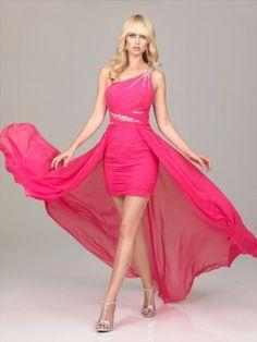 Style Sheath / Column One Shoulder Beading  Sleeveless Short / Mini  Chiffon Cocktail Dress / Homecoming Dress
