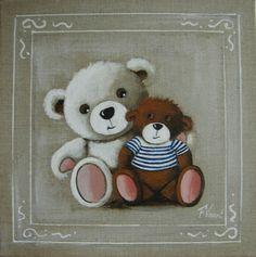 tableau de deux nounours peints à l'acrylique sur lin