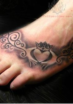 claddagh tattoo - friendship/love/loyalty with different colored hearts for bff tat